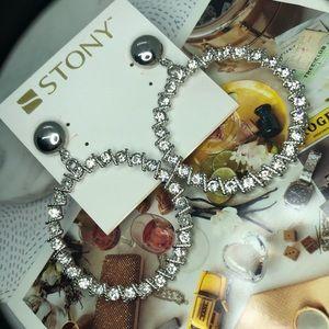 stony Jewelry - Silver Rhinestone Hoops